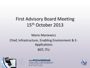 First Advisory Board Meeting 15 October 2013