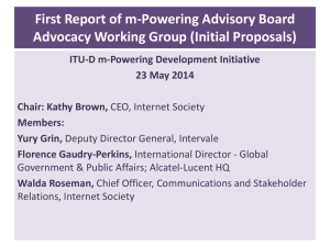 First Report of m-Powering Advisory Board Advocacy Working Group (Initial Proposals)