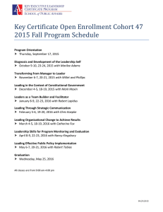 Key Certificate Open Enrollment Cohort 47 2015 Fall Program Schedule