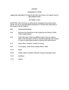 AGENDA  LEADERSHIP FORUM AMERICAN UNIVERSITY'S INSTITUTE FOR THE STUDY OF PUBLIC POLICY