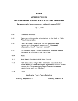 Can a cooperative labor management relationship survive NSPS? July 12, 2005 8:00