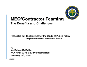 MEO/Contractor Teaming The Benefits and Challenges