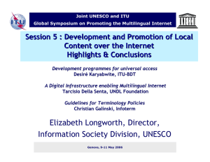 Session 5 : Development and Promotion of Local Highlights & Conclusions