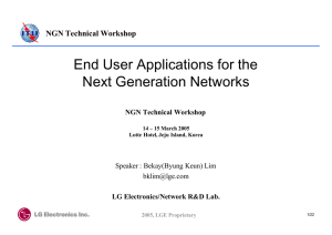 End User Applications for the Next Generation Networks NGN Technical Workshop