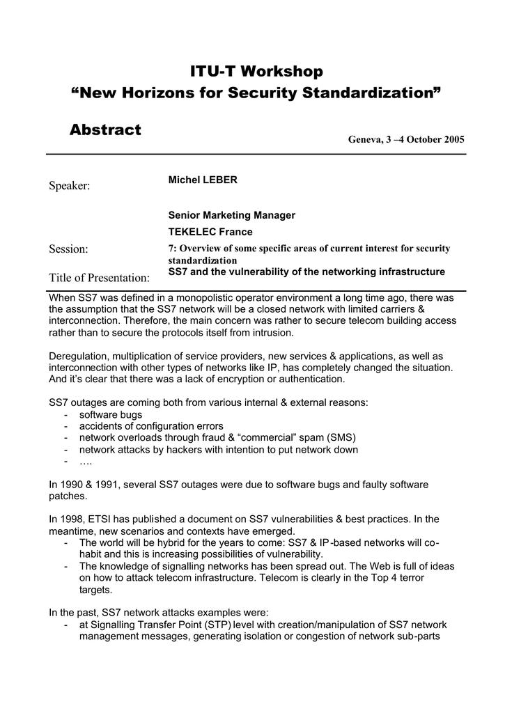 """ITU-T Workshop """" Abstract Speaker:"""