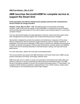 ABB launches ServiceGridSM for complete service to support the Smart Grid