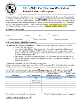 2015 - 2016 Dependent Student Verification Worksheet (V6) Full