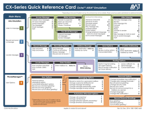 CX–Series Quick Reference Card Octel ARIA