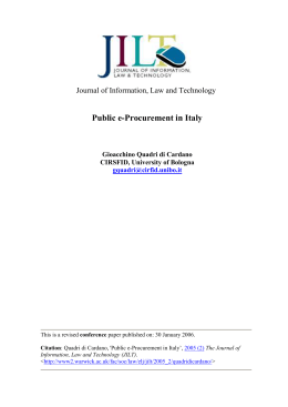 Public e-Procurement in Italy  Journal of Information, Law and Technology