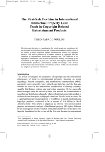 The First-Sale Doctrine in International Intellectual Property Law: Trade in Copyright Related