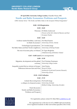 Nordic and Baltic Economies: Problems and Prospects UNIVERSITY COLLEGE LONDON