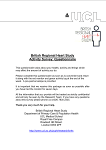 British Regional Heart Study Activity Survey: Questionnaire