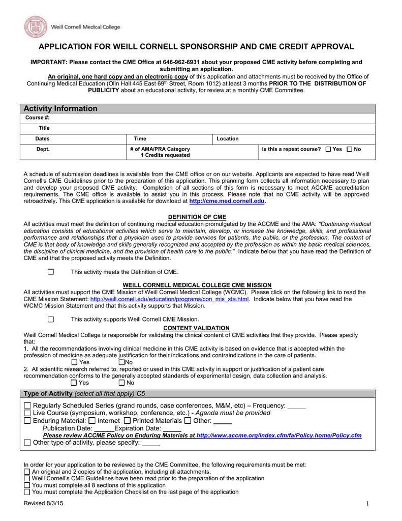 application for weill cornell sponsorship and cme credit approval