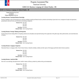 Program Assessment Plan American University