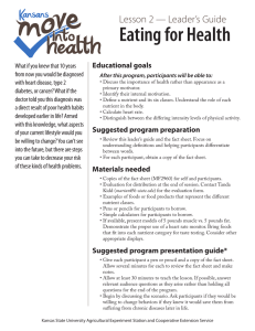 Eating for Health Lesson 2 — Leader's Guide Educational goals