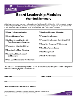 Board Leadership Modules Year-End Summary