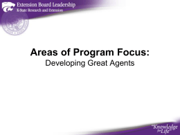 Areas of Program Focus: Developing Great Agents 1
