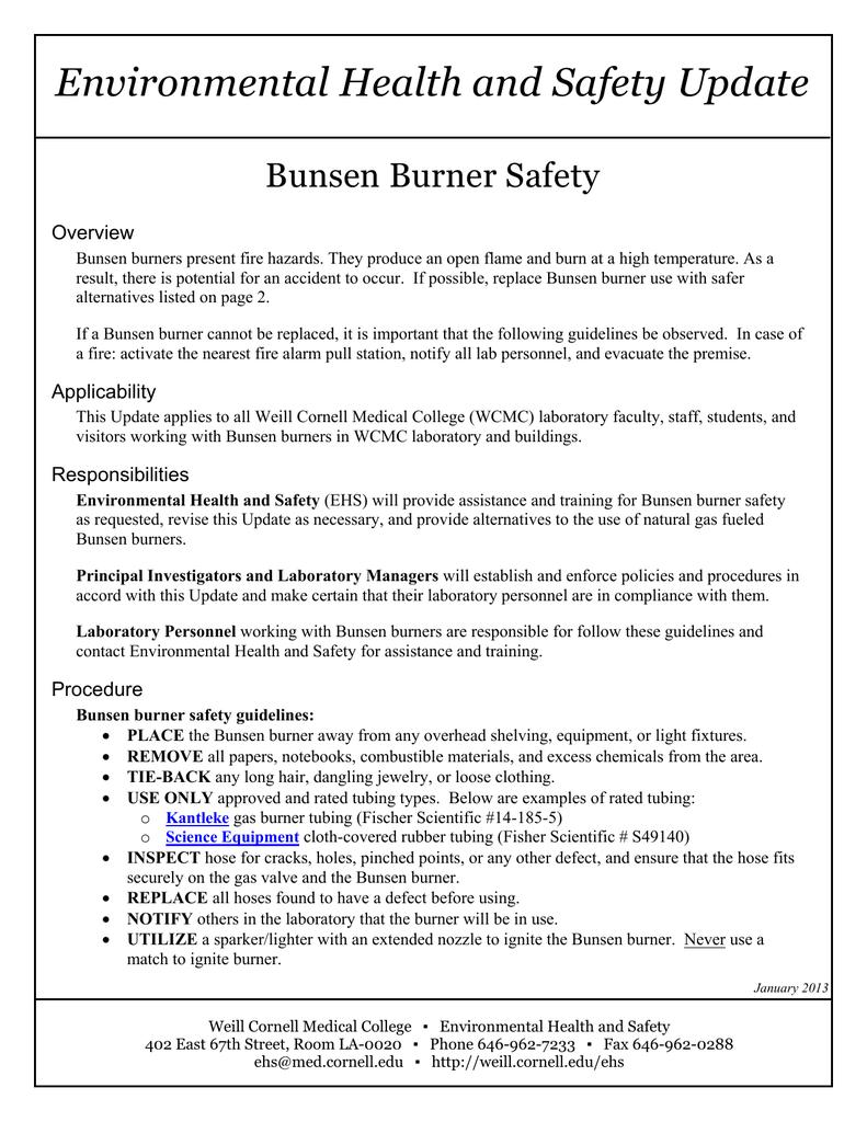 Environmental Health and Safety Update Bunsen Burner Safety