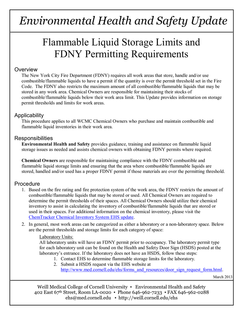 Environmental Health And Safety Update Flammable Liquid Storage