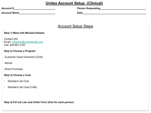 Unitex Account Setup  (Clinical)