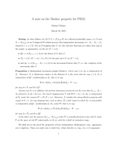 A note on the Markov property for PII(S) Matija Vidmar