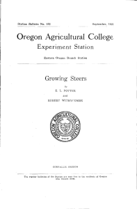 Oregon Agricultural College Experiment Station Growing Steers Eastern Oregon Branch Station