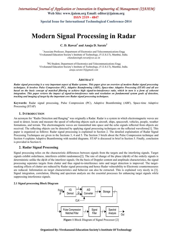 Modern Signal Processing In Radar Web Site Ijaiem Email