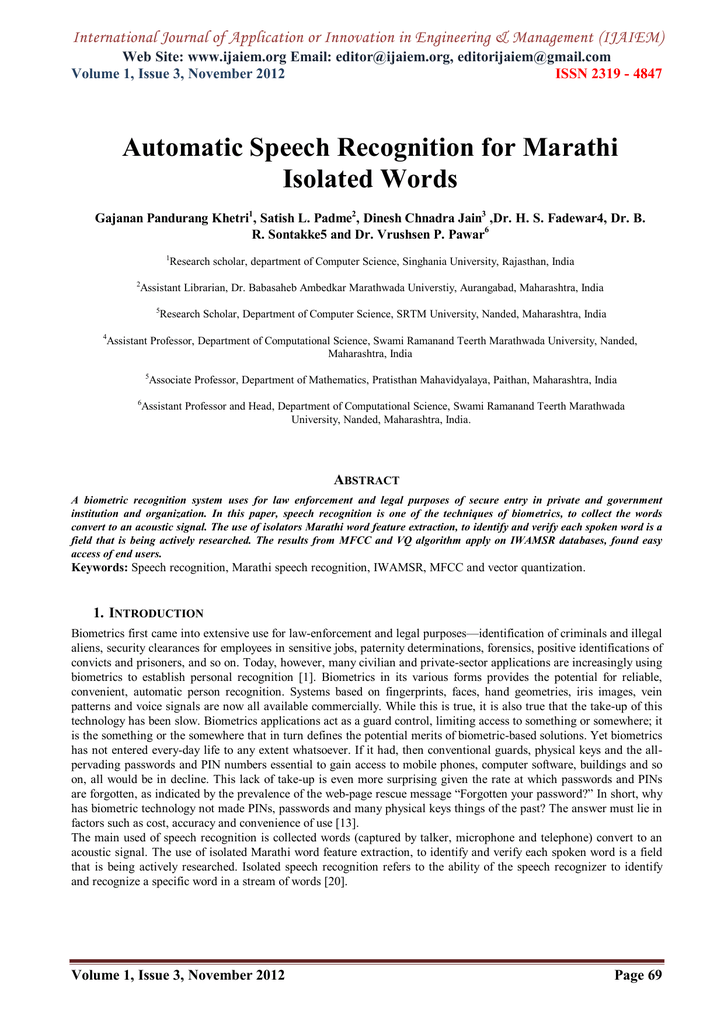 Automatic Speech Recognition for Marathi Isolated Words Web