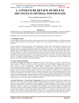 A  LITERATURE REVIEW OF RECENT ADVANCES IN OPTIMAL POWER FLOW