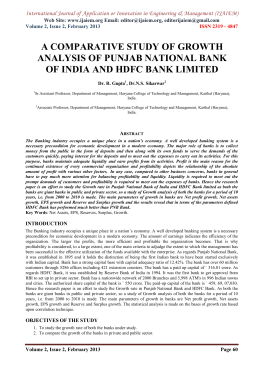 A COMPARATIVE STUDY OF GROWTH ANALYSIS OF PUNJAB NATIONAL BANK