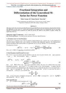 Fractional Integration and Differentiation of the Generalized M- Series for Power Function