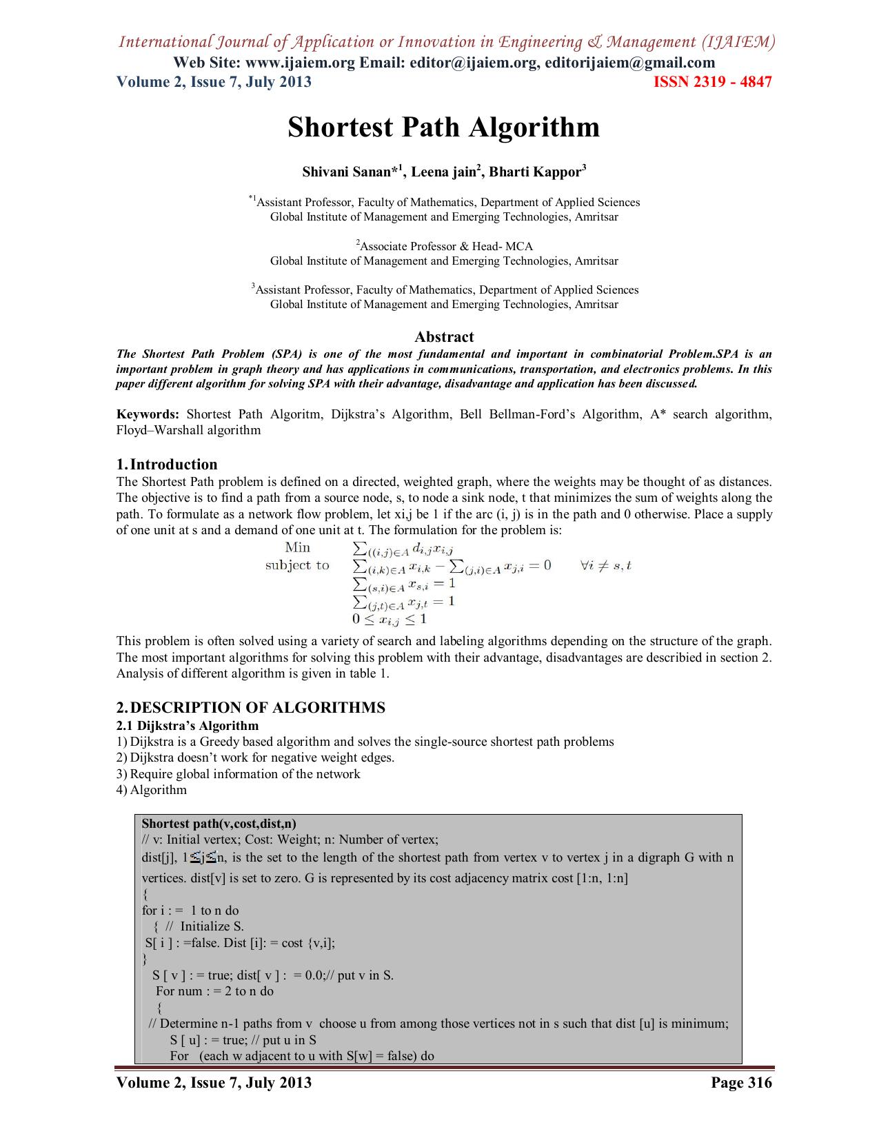 Shortest Path Algorithm Web Site: www ijaiem org Email: ,
