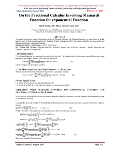 On the Fractional Calculus Involving Mainardi Function for exponential Function