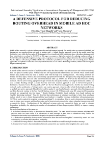 A DEFENSIVE PROTOCOL FOR REDUCING ROUTING OVERHEAD IN MOBILE AD HOC NETWORKS