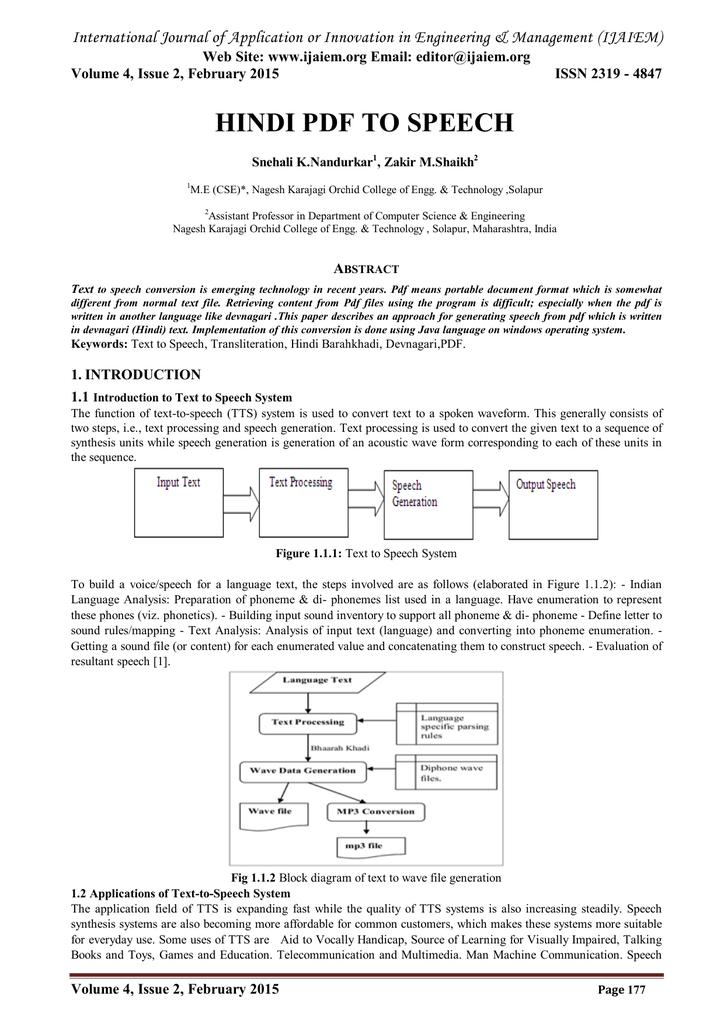 HINDI PDF TO SPEECH Web Site: www ijaiem org Email:
