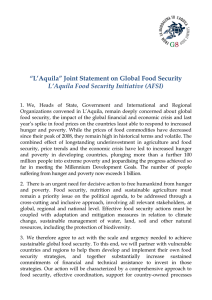 """L'Aquila"" Joint Statement on Global Food Security"