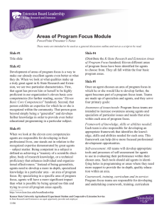 Areas of Program Focus Module