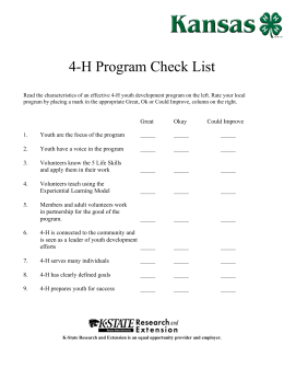 4-H Program Check List