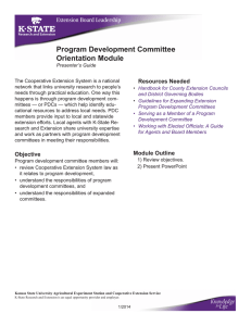 Program Development Committee Orientation Module Resources Needed