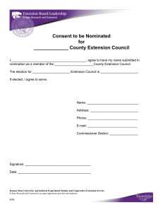 Consent to be Nominated for _____________ County Extension Council