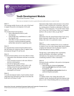 Youth Development Module PowerPoint Presenter's Notes