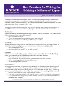 Best Practices for Writing the 'Making a Difference' Report