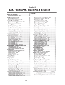 Ext. Programs, Training & Studies Chapter 23  Contents