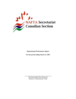 Departmental Performance Report For the period ending March 31, 2007