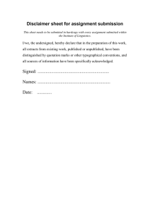 Disclaimer sheet for assignment submission