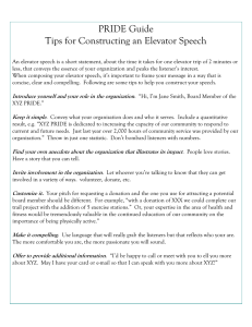 PRIDE Guide Tips for Constructing an Elevator Speech