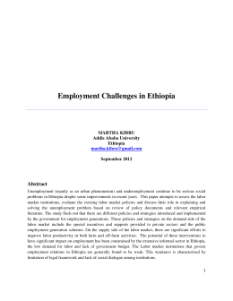 Employment Challenges in Ethiopia Abstract