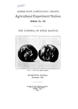 THE CONTROL OF APPLE BLOTCH. Historical Document Kansas Agricultural Experiment Station