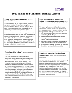 2013 Family and Consumer Sciences Lessons  A ction Plan for Healthy Living From Awareness to Action: the