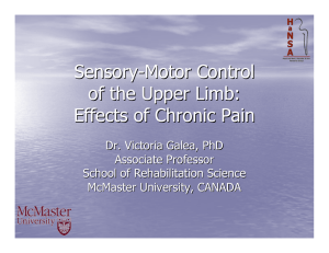 Sensory - Motor Control of the Upper Limb: